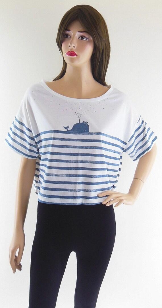 Whale Fish Sea (size L) Whale Tshirt White Tshirt Crop Top Tee Shirt Screen Print Size L