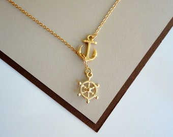 Gold Nautical Lariat Necklace with Anchor and Steering Wheel. Nautical Necklace.