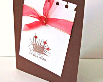 Hand made cards: I love you - I am stuck on you - Hedgehog - Valentines - Chocolate - Brown - Red - hand stamped - handmade - Wcards
