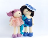 TWO DOLLS: A boy with brown hair and Vanilla Pink Doll - pdf knitting patterns