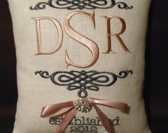 Monogram Embroidery Ring Bearer Pillow (RB138)