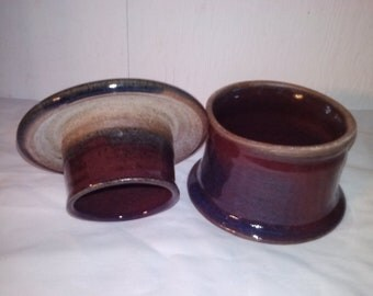 Amethyst red/blue ceramic Butter Dish