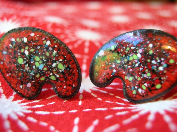 Unusual 1960s Enameled Cuff LInks-Large Brightly Colored Red-Artists Palette-Copper
