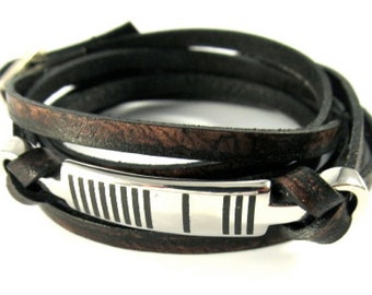 One Meaning - Men's Dragonfly Barcode Wrap  - all of our jewelry means I LOVE YOU