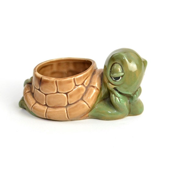 Turtle Planter  - Cute Ceramic Figure  in Brown Green with Shell Flower Pot - Vintage Home Garden Decor