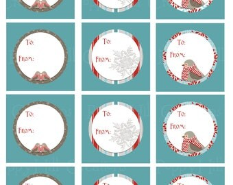 INSTANT DOWNLOAD - Printable Chilly Bird Gift Tags or Labels - For Commercial or Personal Use - Digital Design
