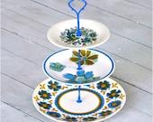 Bleubird: Cake Stand, 3 Tier, Domestic Vintage China, Hand Painted, Blue Green Aqua