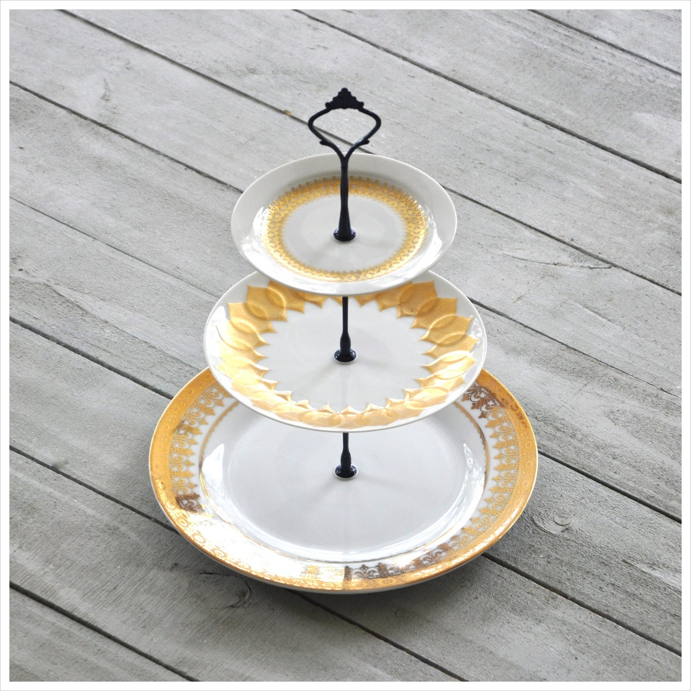 drenched 3 tier cake stand gold mid century china dishes. Black Bedroom Furniture Sets. Home Design Ideas