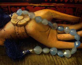 SALE -- Vintage Untreated Chalcedony India Blue Faceted Teardrops Hearts Strand Beads