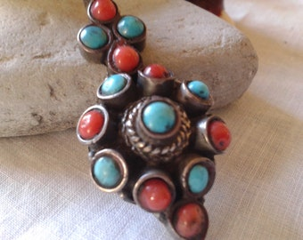 "large 2"" tribal jewelry coral & turquoise sterling silver gypsy boho necklace pendant vintage Mother's day wedding birthday jewelry"