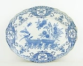 Antique -1870s -  Boch Freres Keramis -  Beautiful old blue and white plate (serving dish) - made in Belgium - collectible