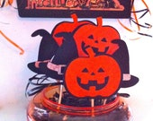 Halloween Favor Pops Party Centerpiece and Favor Tray Pumpkins and Witches Hat Fun