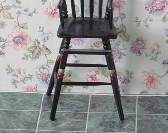 Dollhouse  Highchair  Spindleback painted black Colonial Style  Handcrafted 1/12th Scale