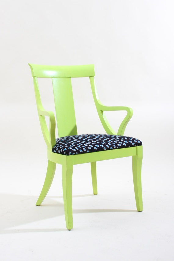 vintage green yellow painted wooden chair
