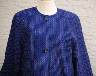 Vintage Christian Dior 1970s Purple Tweed Separates Coat Size 8 Women's