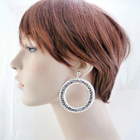 Hoop Earrings - Donut Earrings - Large Earrings - Post Earrings - Dangle Earrings - Geometric Earrings