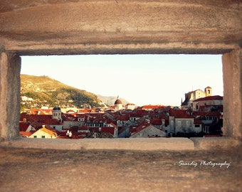 Dubrovnik. Croatia Photograph. Red Roofs and City View from Wall. Adriatic Sea. Travel Photography Rustic. Croatian Wall Art. Home Decor