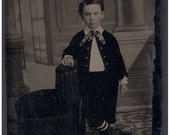 Vintage TinType, Cute Boy Tinted Cheeks Standing -great for Collector, Mixed Media Artist, etc...Yb1748