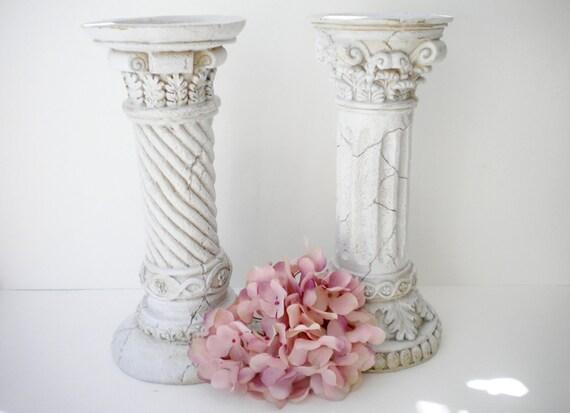 Vintage White Pillar Candle Holders. Cottage Chic. Shabby Chic decor Treasury item D'MarieTrevino