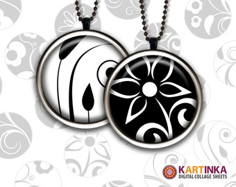 1.5 inch, 30mm, 7/8 inch, 1 inch (25mm) Printable Images BLACK & WHITE FLORA Download for Round pendants Bezel trays Cabochon Bottle caps