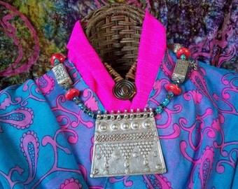 Majestic Rhagastan Silver and Tibetan Necklace