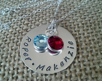 Sterling Silver Personalized Mom Necklace-Custom Family Necklace-Stamped Evermore