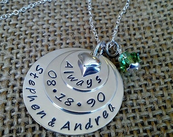 Hand Stamped Wedding Necklace-Custom Anniversary Necklace-Stamped Evermore