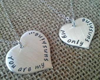 Mother Daughter Necklace, You are my sunshine, My only sunshine, Sterling Silver Heart Necklace Set for Mother and Daughter