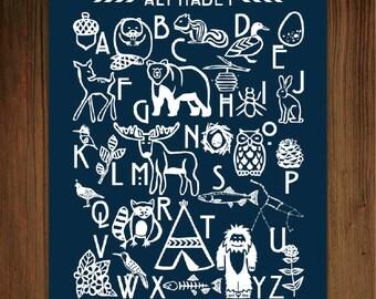Woodland Alphabet Print