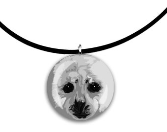 Adorable Baby Harp Seal, round glass tile pendant, black and white, grayscale art, grey on grey