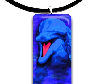 Dolphin art glass tile pendant, vivid bright blue and hot red pink colors