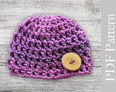 INSTANT DOWNLOAD Pattern Croche Baby Button Beanie