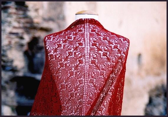 Red shawl / Handknit / Alpaca/Silk / Natural
