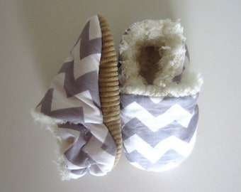 Chevron Grey Baby Shoes Soft and Fluffy