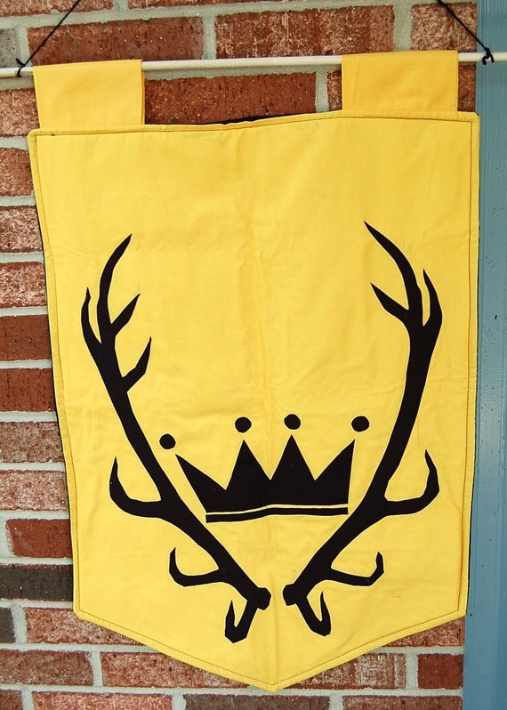 Game of Thrones Baratheon Crowned Stag Antlers Sigil Symbol Wall Banner Hanging