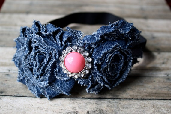 Bubble gum pink and denim headband, perfect for back to school students and kiddos