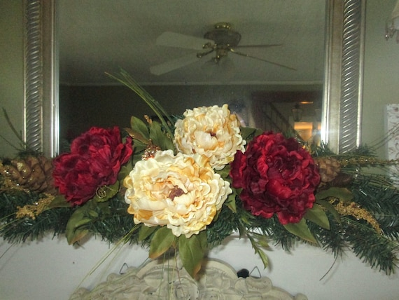 Christmas swag for mantle table centerpiece red and cream