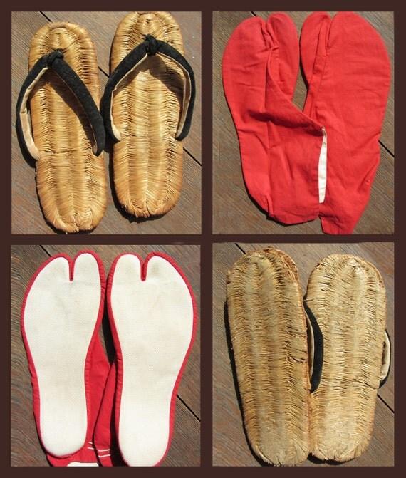 Japanese SANDALS & SOCKS - Vintage 1950s