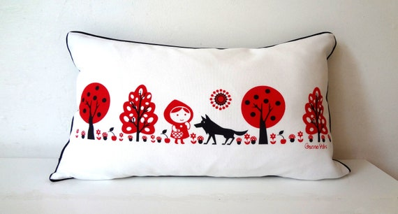 Scandinavian  Red Riding Hood wolf Cushion Cover woods forest folk christmas gift story black