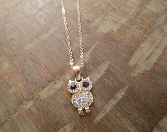 Gold Owl Necklace - Gold Rhinestone Owl Necklace