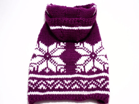Hand Knit Purple Dog Sweater with Nordic Pattern