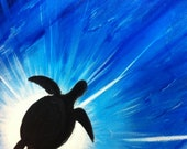 Sea Turtle Silhouette Original Framed Painting - Last 2 days at this SALE price