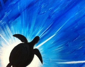 Sea Turtle Silhouette Original Framed Painting - Last day at this SALE price