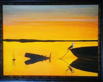 Coastal Reflections at Dawn  - Original Framed Painting - Introductory SALE price