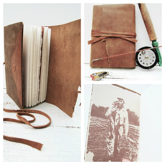 Leather Journal Diary Outdoorsman Hunter Fisherman Handmade Travel Notebook (059)