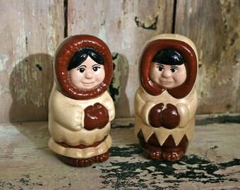 Vintage Eskimo salt and pepper shakers