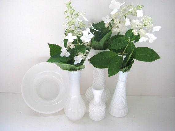 Milk Glass Vase Grouping - Set of 5 - Vintage - White Wedding Centerpiece