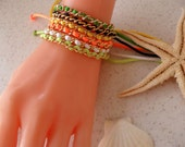 Custom Order for Estie - Colorful and Gold Chain Bracelets - Light and Dark Green - White - Yellow - Orange