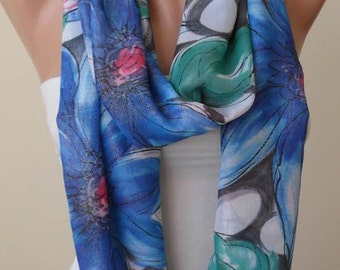 Infinity Scarf - Circle Scarf  -  Loop Scarf - Colorful -Blue and  Pink Scarf with Flowers  - Chiffon Fabric