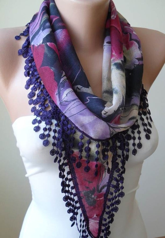 New - Trendy - Lilac and Purple Scarf with Purple Lace Trim Edge